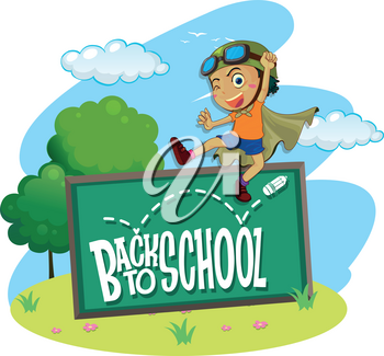 Back to school theme with boy jumping illustration