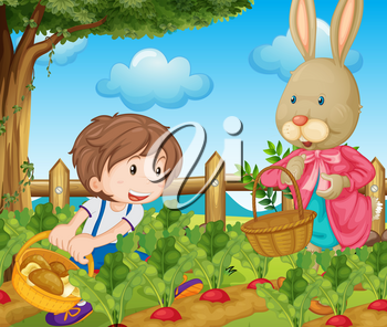 Kid and bunny picking out vegetables illustration