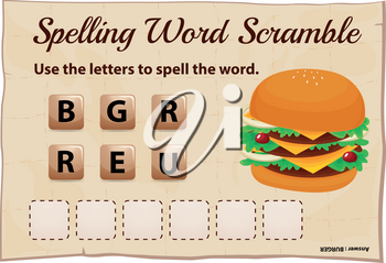 Spelling word scramble game template with hamburger illustration