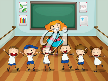Teacher and students in dancing class illustration
