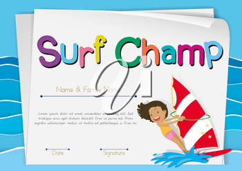 Certificate template for surf champ illustration