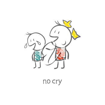 Royalty Free Clipart Image of a Girl Comforting a Crying Boy