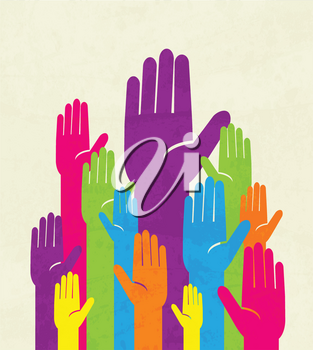 Royalty Free Clipart Image of Colorful Hands