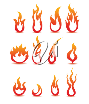 Royalty Free Clipart Image of Fire Icons
