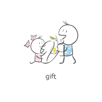 Royalty Free Clipart Image of a Boy Giving a Girl a Pear