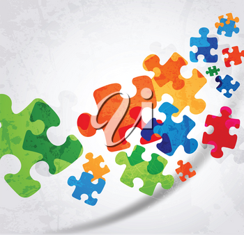 Royalty Free Clipart Image of a Colorful Puzzle