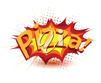Royalty Free Clipart Image of the Word Pizza