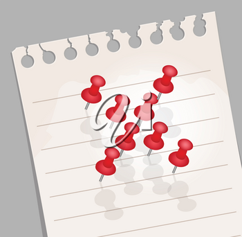 Royalty Free Clipart Image of Pushpins on a Note