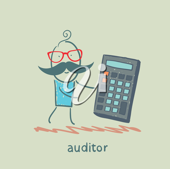 auditor with a calculator
