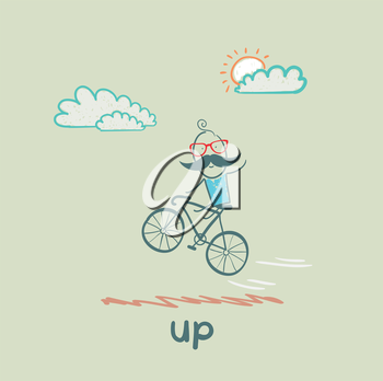 man flying on a bicycle
