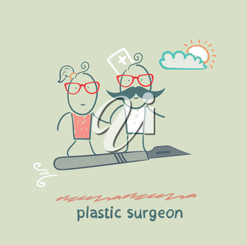 plastic surgeon with a patient flies on a scalpel