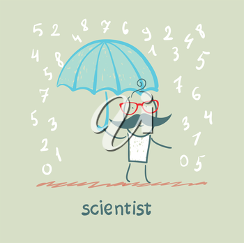 Scientist holding an umbrella from the rain with numbers