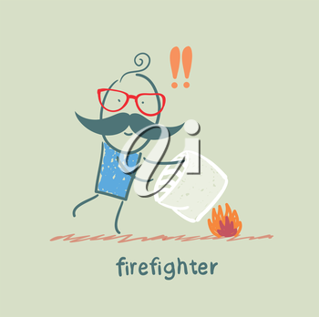 firefighter extinguishes a fire pillow