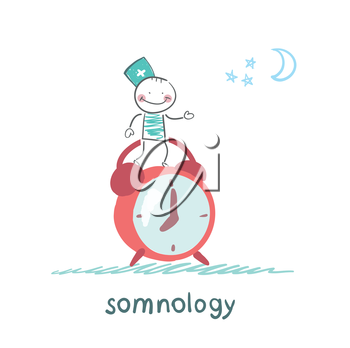 somnology stands next to the alarm