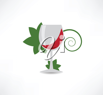 grape leaves and wine icon