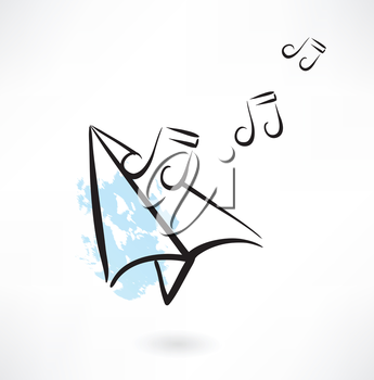 paper airplane music note grunge icon