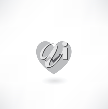 Heart with Arrow Icon with Four Color Variations - Raster Version.