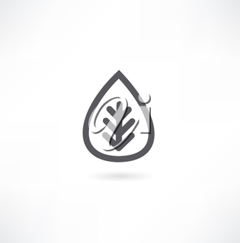 black and white leaf icon