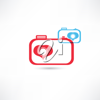 Red and blue nice cameras icon