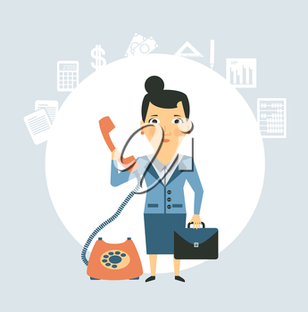 accountant talking on the phone illustration