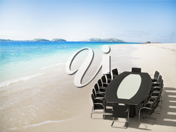Royalty Free Clipart Image of a Meeting on a Tropical Beach