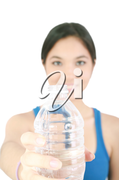 girl hold bottle of pure still drinking water nutrition facts