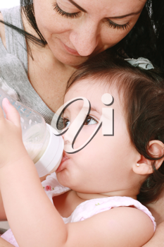 Mother and baby drinking milk from bottle in a white background