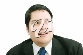 Shocked and scared businessman on a white background