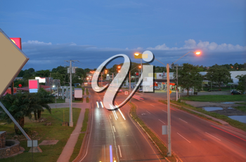 Main highway of Panama in the sunset (Via Interamericana).  This highway connects all the states in Panama.