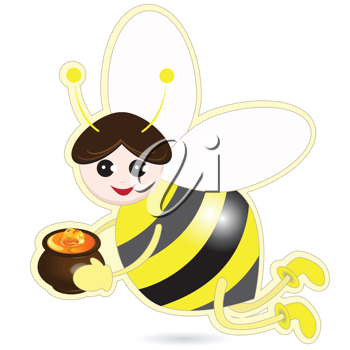 Royalty Free Clipart Image of a Bee Holding a Honey Pot