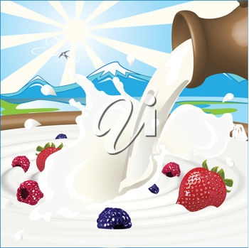 Royalty Free Clipart Image of Milk and Berries