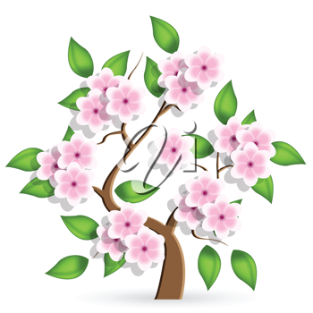 Royalty Free Clipart Image of a Tree With Cherry Blossoms