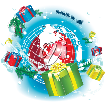 Royalty Free Clipart Image of a Christmas Global Concept
