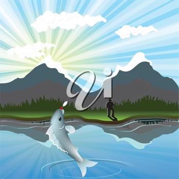 Royalty Free Clipart Image of a Fisherman Reeling in a Fish