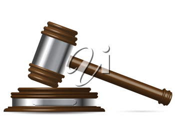 Royalty Free Clipart Image of a Wooden Gavel