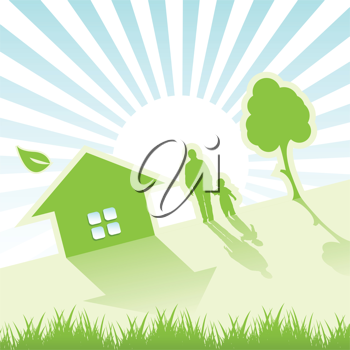 Royalty Free Clipart Image of People by a House