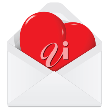 Royalty Free Clipart Image of a Heart in an Envelope