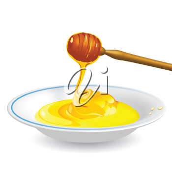 Royalty Free Clipart Image of a Bowl of Honey