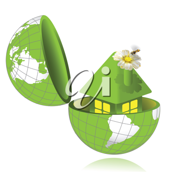 Royalty Free Clipart Image of a Home in a Globe