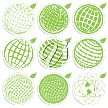 Royalty Free Clipart Image of Globe Icons