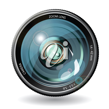 Royalty Free Clipart Image of a Camera Lens