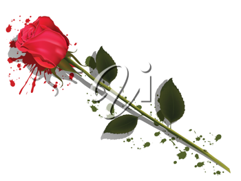 Royalty Free Clipart Image of a Rose and Spray Paint