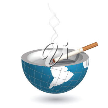 Royalty Free Clipart Image of a Cigarette in an Ashray