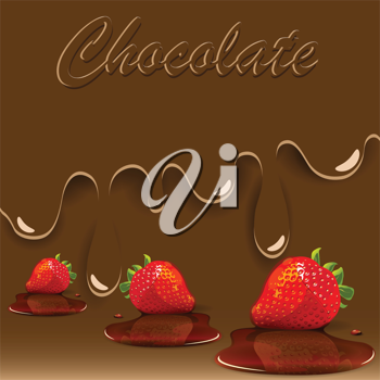 Royalty Free Clipart Image of a Chocolate Strawberry Background