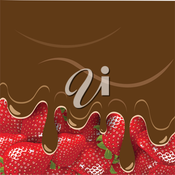 Royalty Free Clipart Image of a Chocolate Strawberries Background