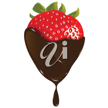 Royalty Free Clipart Image of a Chocolate Strawberry