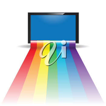 Royalty Free Clipart Image of a Rainbow and Televison