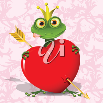Royalty Free Clipart Image of a Frog With a Heart