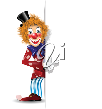 Royalty Free Clipart Image of a Clown in a Black Hat