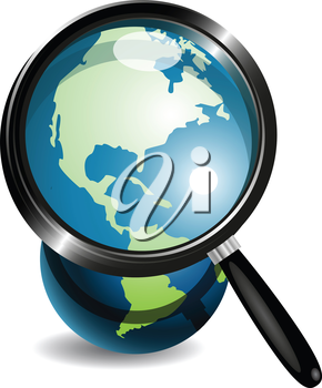 Royalty Free Clipart Image of a Globe Through a Magnifying Glass